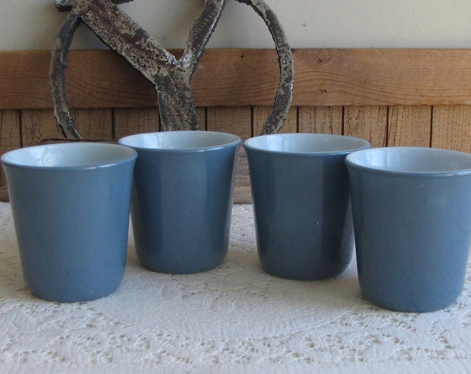Pyrex Gray Blue Coffee Mugs Set of Four (4) Vintage Dinnerware and Replacements 1970s