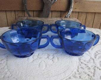 Cobalt Blue Cream Soup Bowls Set of Four (4) Victory Pattern by Diamond Glass Company 1929-1932 Depression Glass