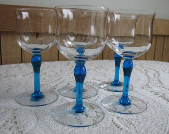 Blue stemmed cordials Bryce Set of 5 Vintage Wine Glasses and Barware