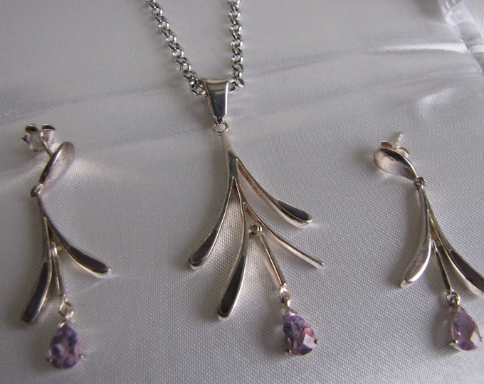 Sterling Silver Necklace and Earrings Amethyst Vintage Jewelry and Accessories