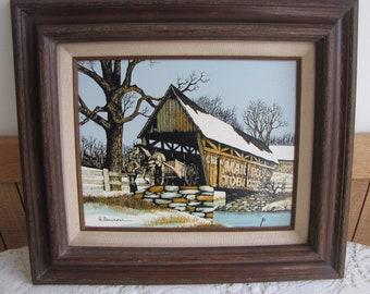 Hargrove Oil Painting Covered Bridge Vintage Home Decor Americana