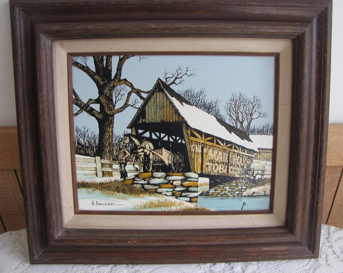 Hargrove Oil Painting Covered Bridge Vintage Home Decor Americana Wall Hangings