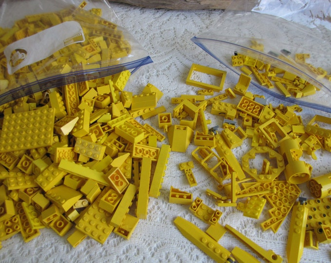 Yellow Legos Bricks and Specialty Bricks Vintage Toys and Building Blocks