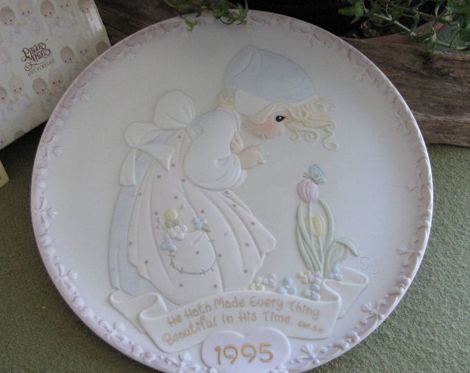 Precious Moments 1995 Mother's Day Annual Plate He Hath Made Every Thing Beautiful In His Time  Sailboat Symbol