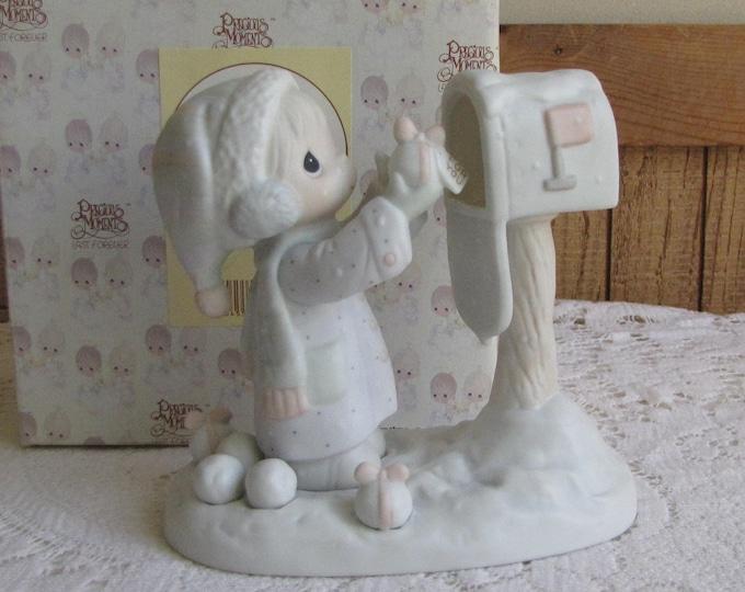 Precious Moments I'm Sending You a White Christmas Figurine Heart 1996 Symbol Retired Jonathan and David
