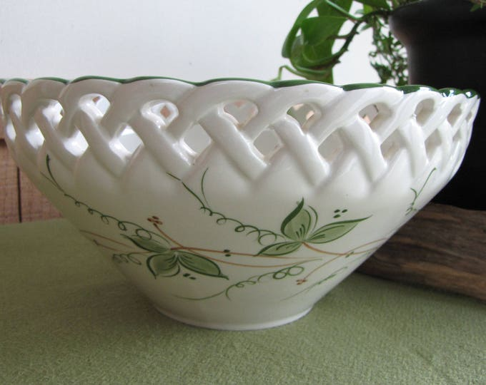 Vintage Ceramic Bowl Andrea by Sadek Hand Painted Made in Portugal White Latticed