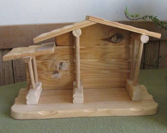 Precious Moments Wood Nativity Stable for Miniature Nativity Set Wooden Manger Display Retired 1996