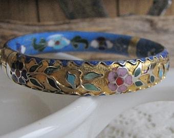 Cloisonné Metal Bracelet Blue Floral Vintage Jewelry and Accessories Metal Bangles
