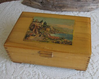 1940's Wood Jewelry Box Vintage Jewelry and Accessories Storage Wooden Boxes
