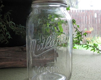 Vintage Midland Mason Jar One Quart Size 1975 Home Products Midland Mason Jar
