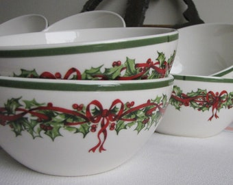 Radko Holiday Traditions Christmas cereal bowls set of 8