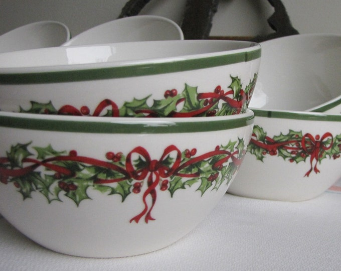 Radko Holiday Traditions Cereal Bowls Vintage Christmas Dinnerware and Replacements Priced Individually