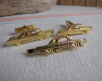1960's Chevy Impala Cufflink and Tie Clip Vintage Men's Jewelry and Accessories