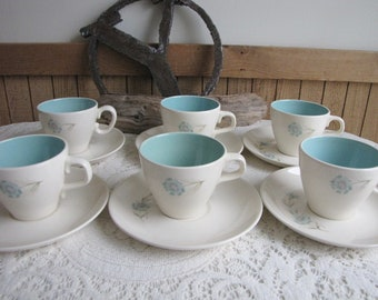 Blue Boutonniere Cups and Saucers Taylor, Smith & Taylor Ever Yours Series Set of Six (6)  Vintage Coffee Cups and Drinkware