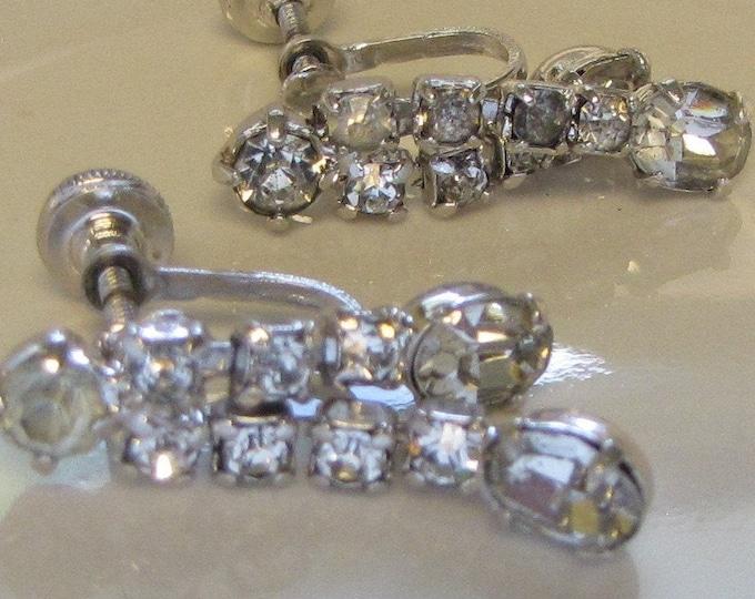 Dangle Rhinestone Earrings (Screw Backs) Vintage Jewelry and Accessories