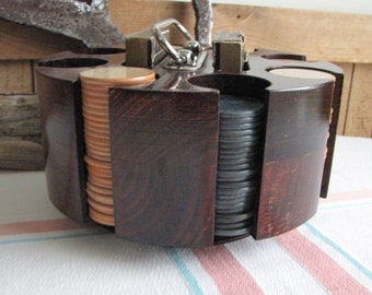 Vintage Wood Poker Chip Holder and Pinochle Card Vintage Games and Toys Pinochle Cards