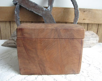 Small Redwood Box Hand Carved Vintage Boxes and Storage