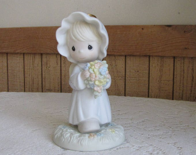 Precious Moments A Bouquet from God's Garden of Love Figurine Heart Symbol 1996 Retired