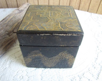 Small Wood Box Decorated with Scenic Metal Embellishments Vintage Boxes