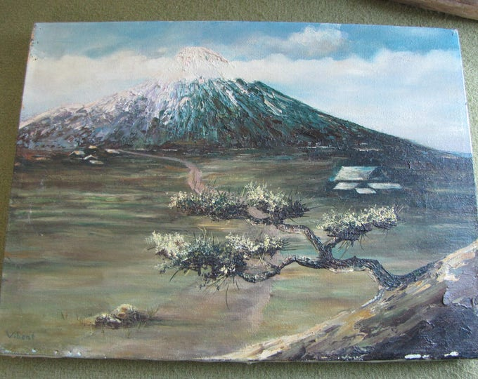 S. Vibert Original Oil Painting Mountain and Bonsai Vintage Wall Art Scenic Nature Picture