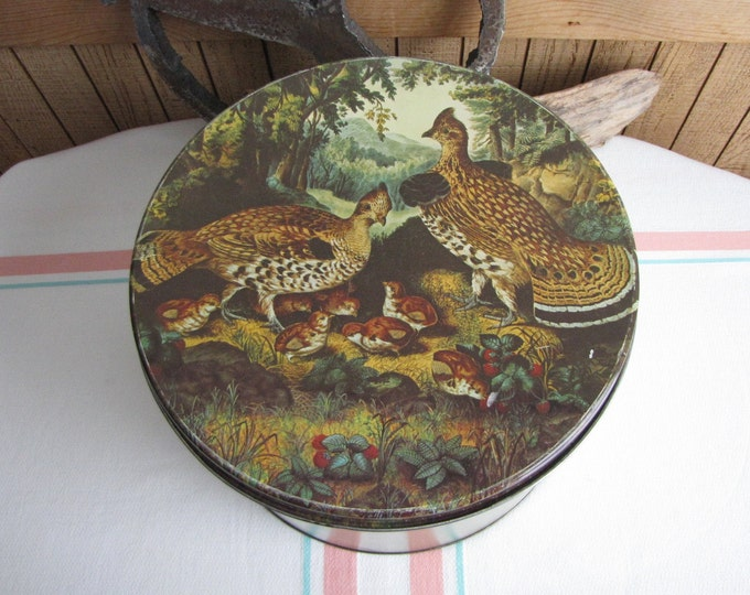 Vintage Maurice Lenell Cookie Tin Currier and Ives Pheasant Scenic Design