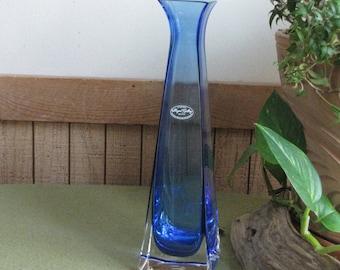 Blue Crystal Vase Royal Gallery 24% Lead Crystal Vintage Florist Ware