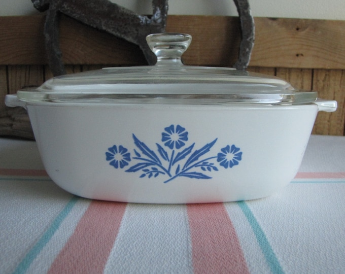 Corning Blue Cornflower Casserole One (1) Quart Saucepan 1961-1966 P-1-B Vintage Cook and Ovenware