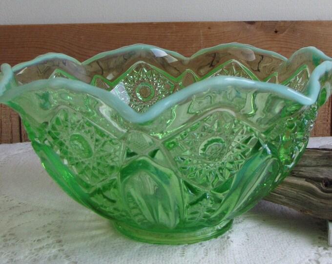 Vintage Green Depression glass opalescent bowl