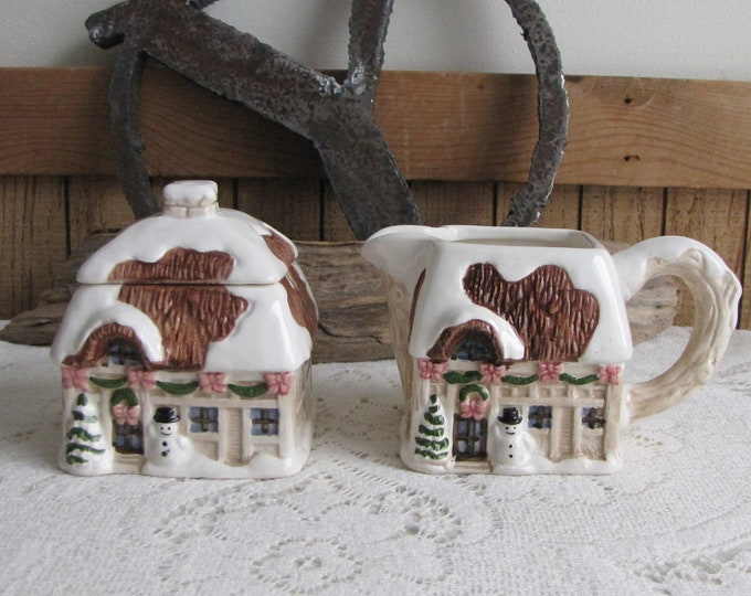 Ron Gordon Cream and Sugar Bowl Cottage-Styled Pattern Christmas Snow and Snowmen