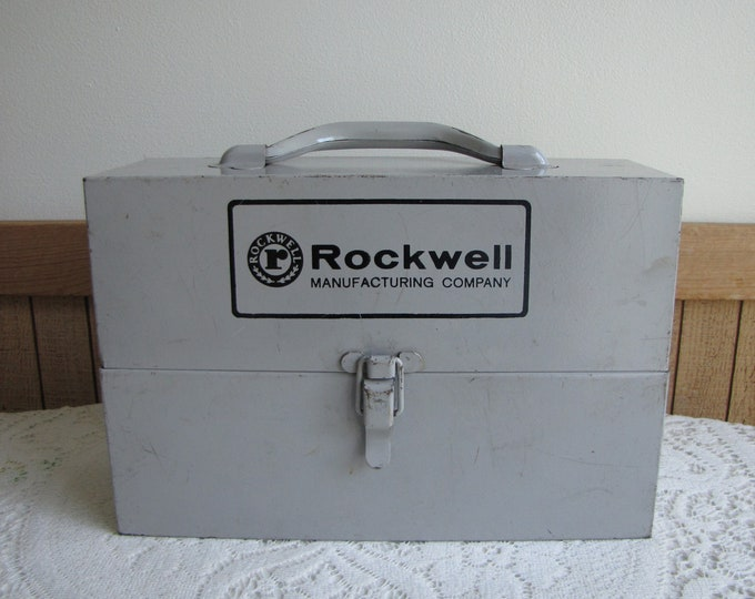 Rockwell Saws Metal Tool Box and Tool Blades Vintage Boxes and Garage Storage