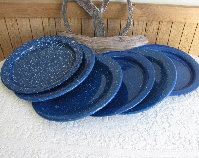 Blue Speckled Enamelware Dinner Plates Set of Six (6) Vintage Dinnerware and Camping Gear