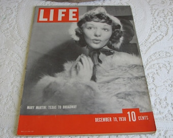 Life Magazines 1938 December 19 Mary Martin: Texas to Broadway Vintage Magazines and Advertising
