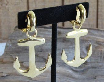 Large Anchor Earrings Gold Toned Clip On Vintage Nautical and Sailing Jewelry and Accessories