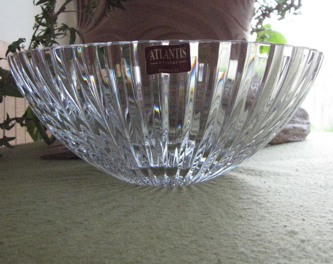 Vintage Atlantis Crystal Bowl Fantasy Pattern Cut Glass Made in Portugal