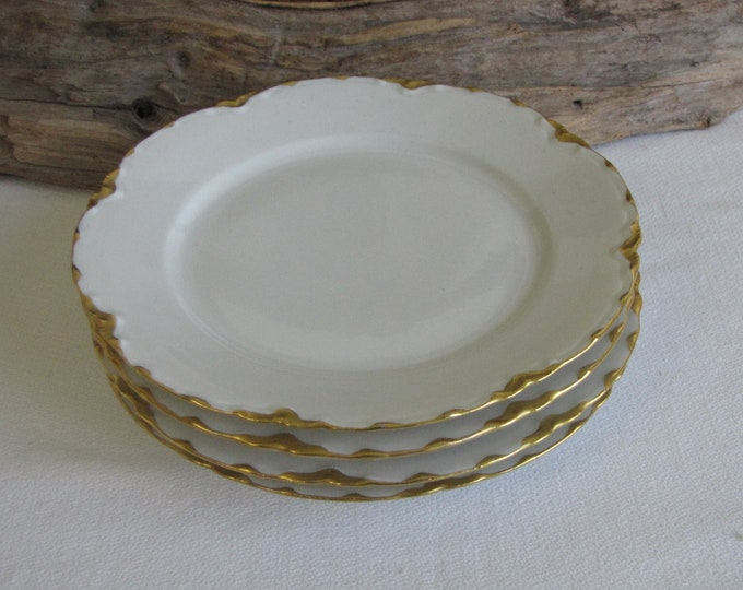 Haviland Ranson Bread Plates Vintage Dinnerware and Replacements Gold Trim Set of Four (4) Small plates Circa 1920s