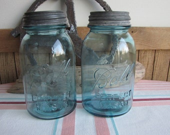 Blue Ball mason jars 1-quart Perfect Mason 1923-1933 set of 2