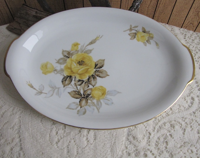 Cotillion Dinner Platter by Sango Yellow Roses 1950s Vintage Dinnerware and Replacements
