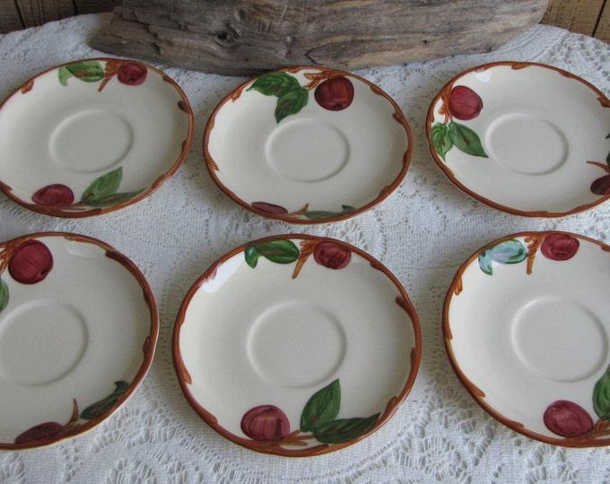 Franciscan Apple saucers Gladding McBean Set of 6 1953-1958