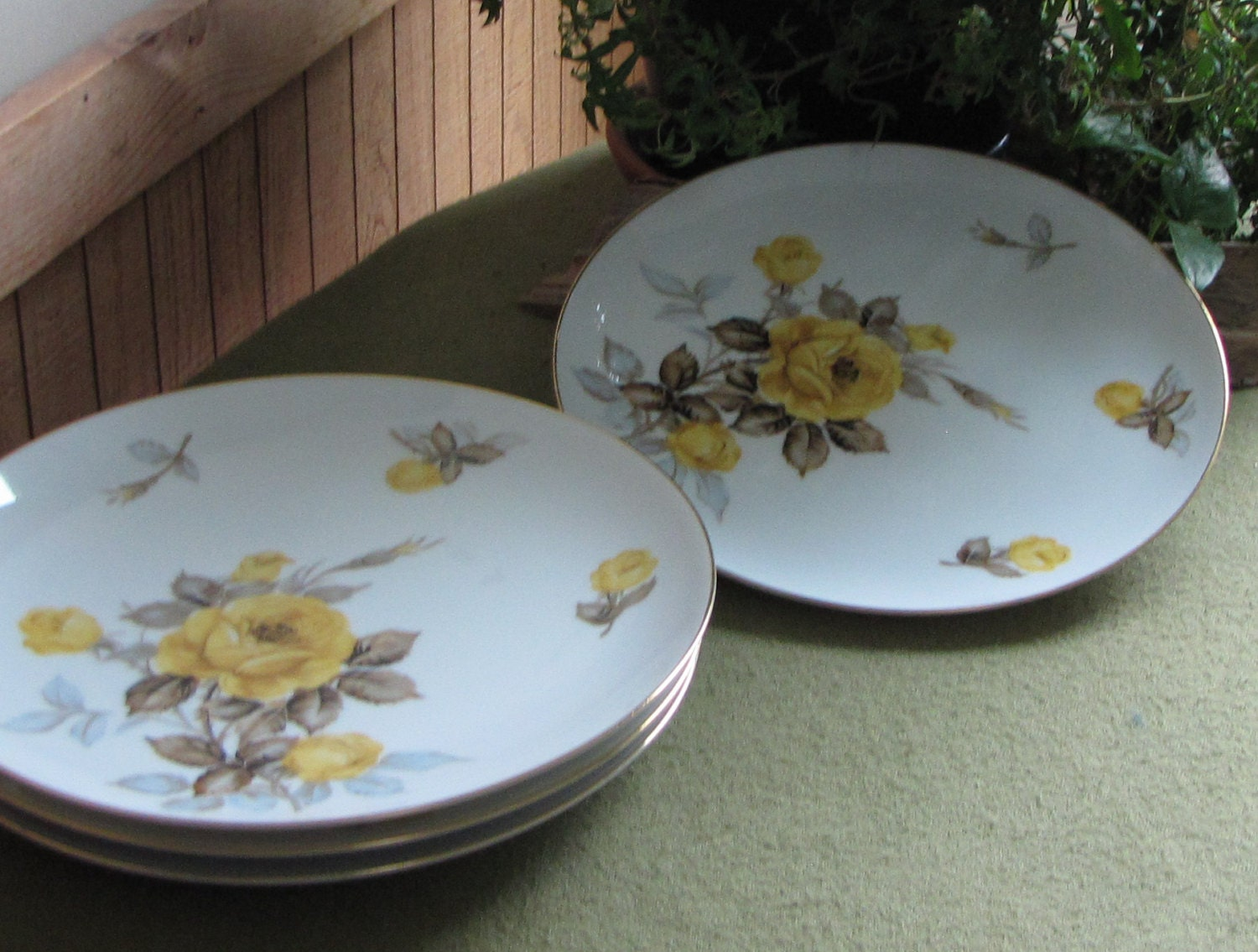 Vintage Cotillion Dinner Plates Dinnerware By Sango Yellow Roses 1950s Set Of Four 4
