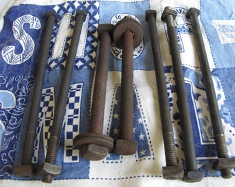 Square Head Bolts and Nuts Industrial Salvage Rustic Lot of 7