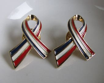 Patriotic Support Ribbons Pins Two (2) Lapel Pins Vintage Jewelry and Accessories Fourth of July