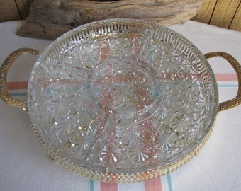 Relish Tray Daisy and Buttons with Brass Stand Indiana Glass Vintage Serving Ware