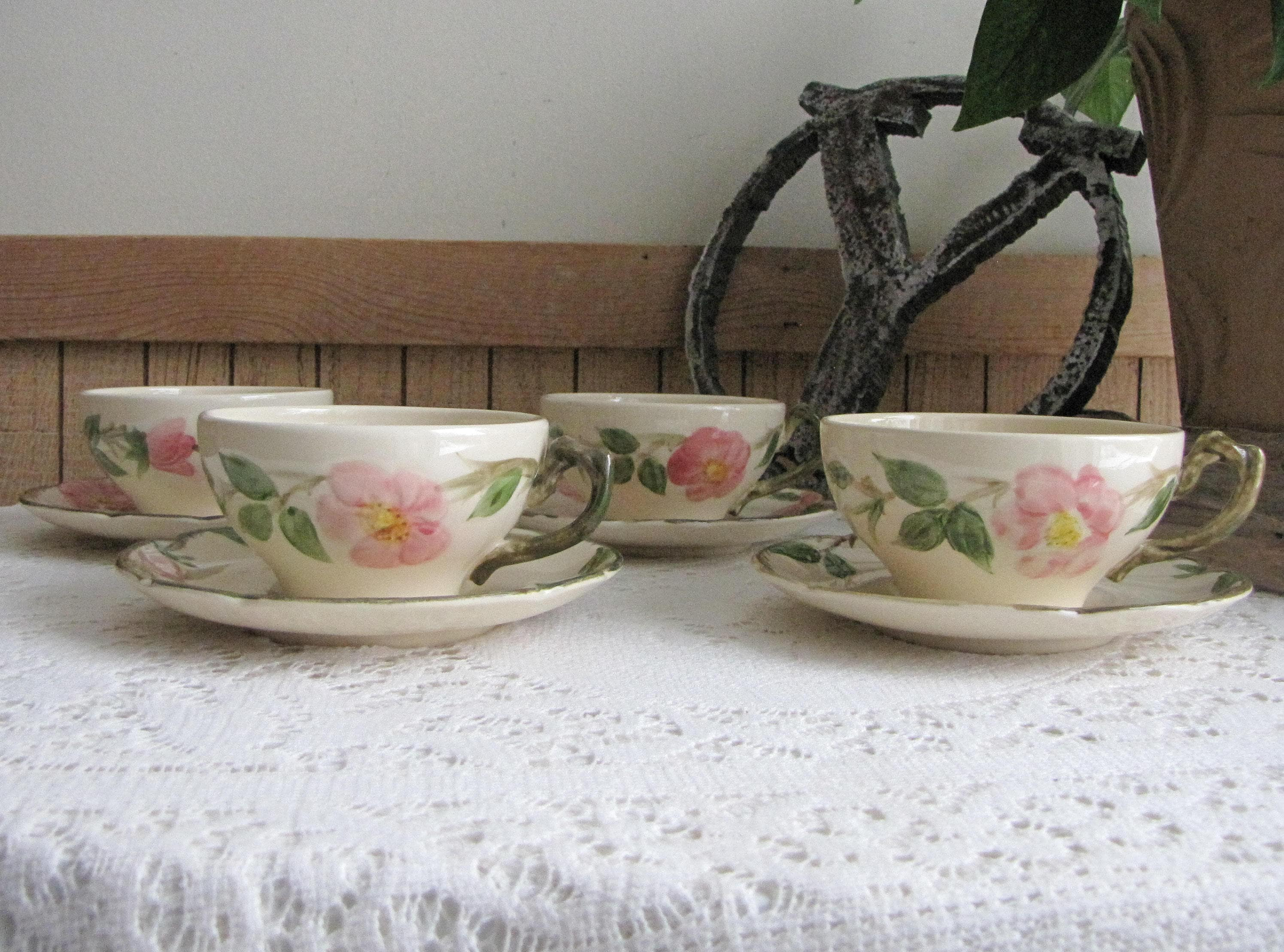 Franciscan Desert Rose Cups and Saucers Vintage Dinnerware and Replacements Set of Four (4) Made in California 1953-1958 & Franciscan Desert Rose Cups and Saucers Vintage Dinnerware and ...