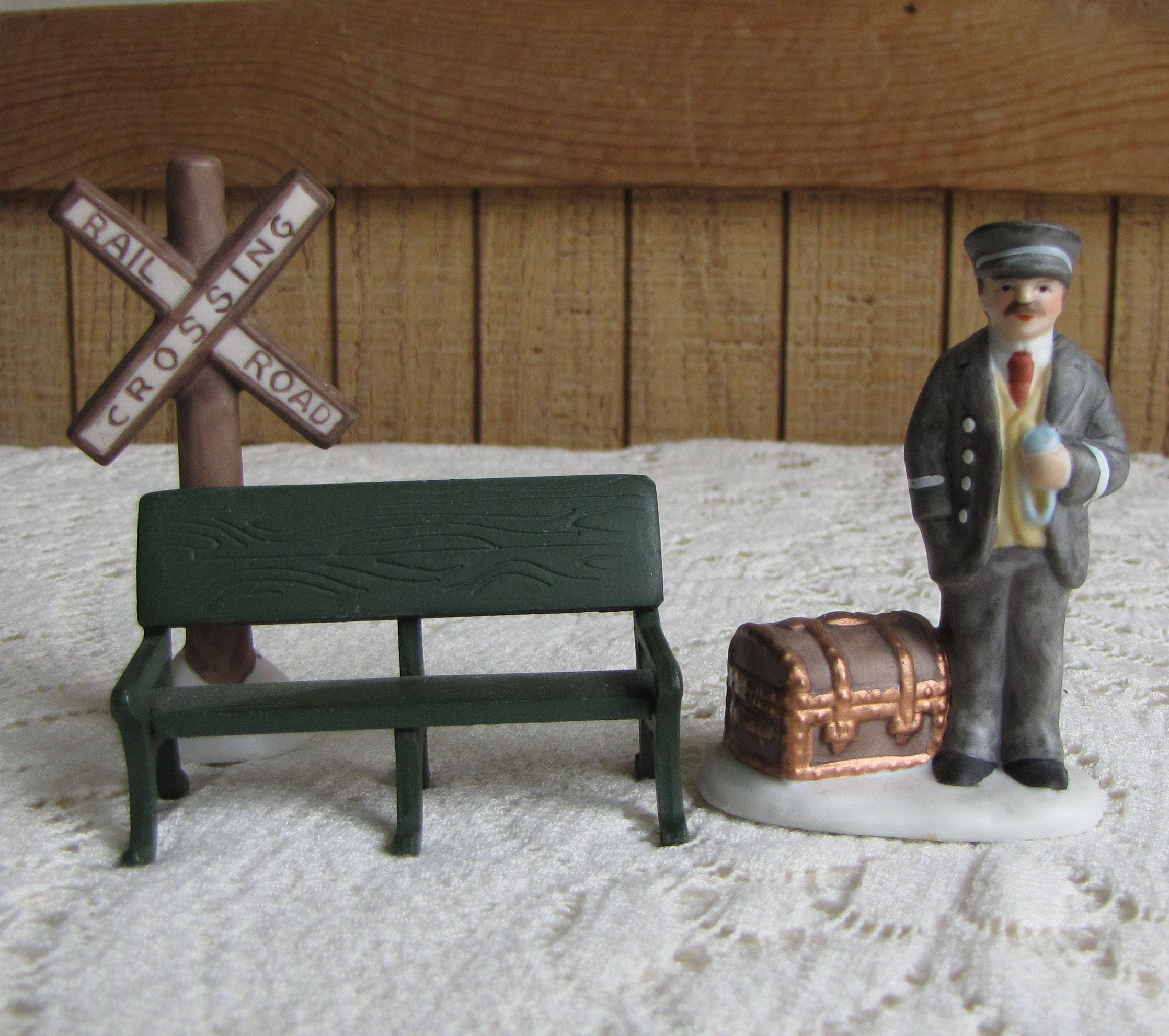 Lefton Station Master And Railroad Sign Bench Three 3 Piece Set Christmas Colonial Village Holiday Decor 1988 Figurines