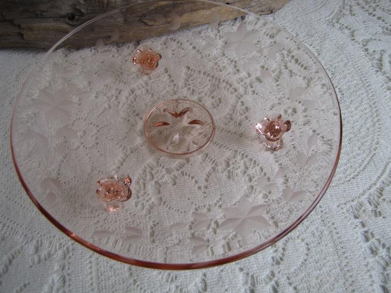 Pink Blush Depression Glass Footed Bowl Norwood Pink Federal Glass 1930s Vintage Serving Platters