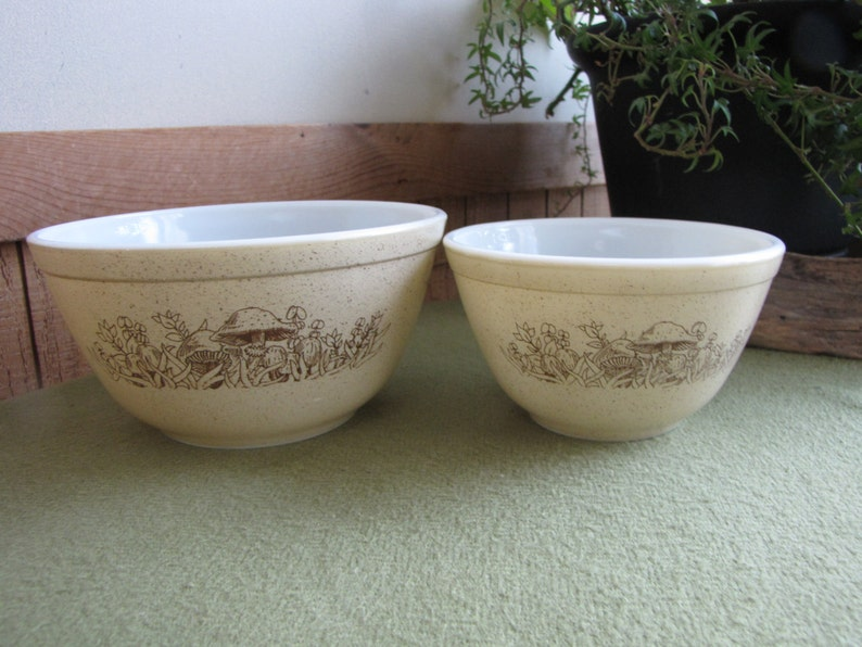 Mixing Bowl Vintage Cookware 2 Brown Pyrex Nesting Bowls Forest Fancies Two