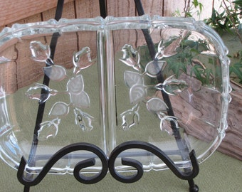 Vintage Crystal Relish Tray Frosted Roses Base
