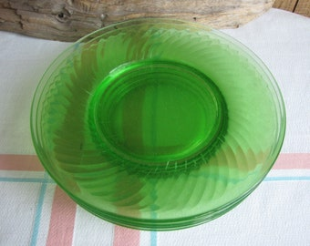 Green Depression Glass Swirl Luncheon Plates Set of 4 Anchor Hocking 1928-1930 Vintage Dinnerware and Replacements