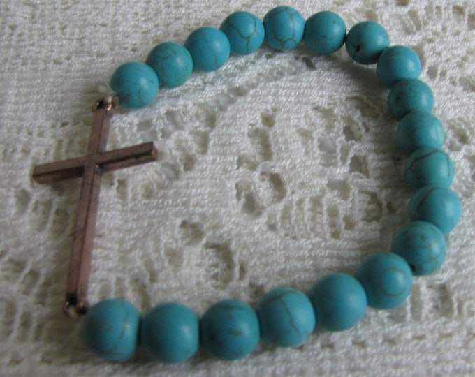 Turquoise Beaded Stone Bracelet with Cross Vintage Jewelry and Accessories