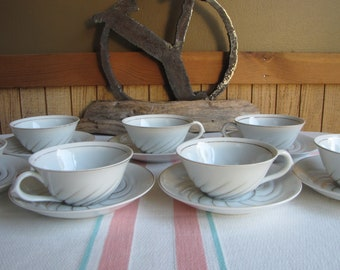Occupied Japan Cups and Saucers Set of 7 Ivory and Gold Swirled Vintage Dinnerware and Replacements